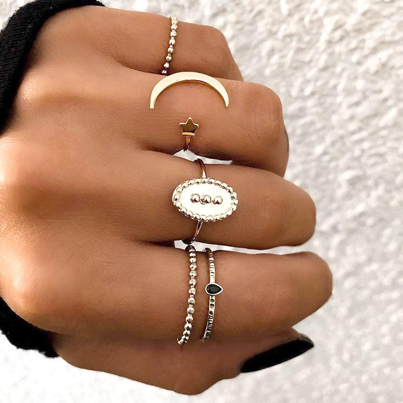 Σετ 5 Δαχτυλίδια Vintage Moon Star Gold