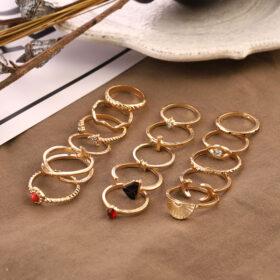 Σετ 16 Δαχτυλίδια Gold Bohemian Rome Moon