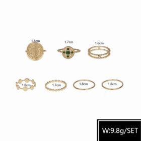 Σετ 6 Δαχτυλίδια Gold Vintage Green Crystal Flower