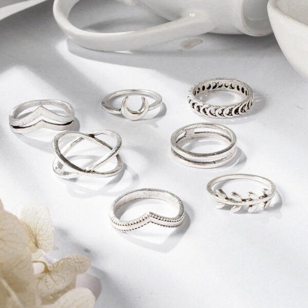 Σετ 7 Δαχτυλίδια Bohemian Geometric Silver