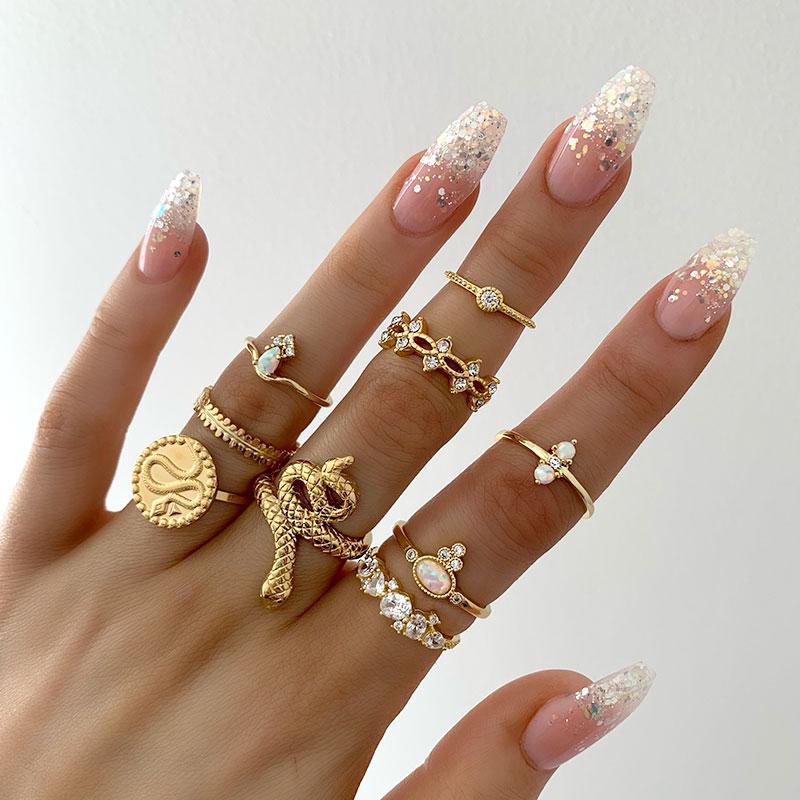Σετ 9 Δαχτυλίδια Bohemian Gold Snake Crystal