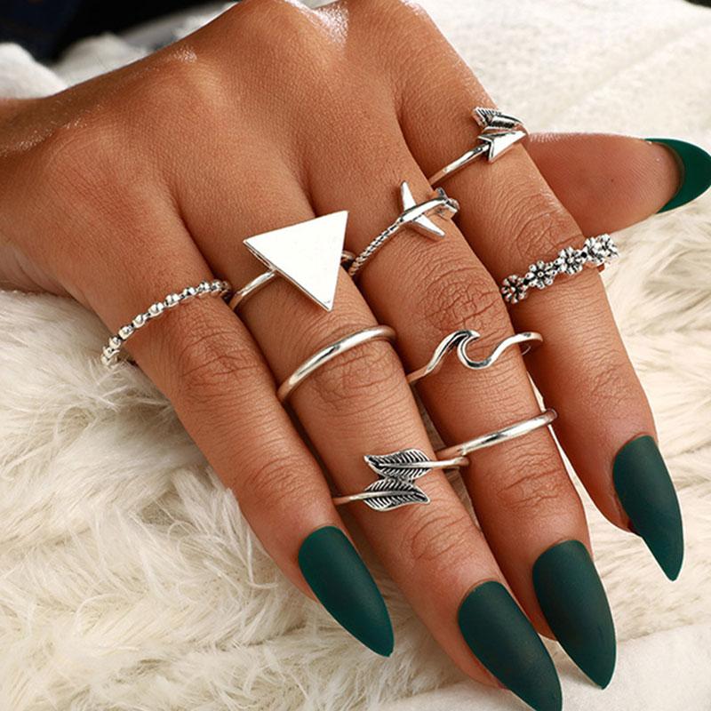 Σετ 9 Δαχτυλίδια Bohemian Triangle Silver Arrow