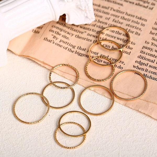 Σετ 10 Δαχτυλίδια Vintage Gold Simple Round