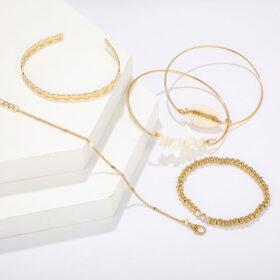 Σετ Βραχιολάκια Multilayer Κοχύλια Vintage Gold