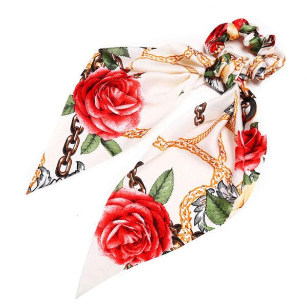 Μαντήλι Μαλλιών White Flower Retro Pattern