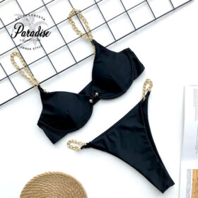 Μαγιό Sexy Luxury Black/Gold με Μπανέλα