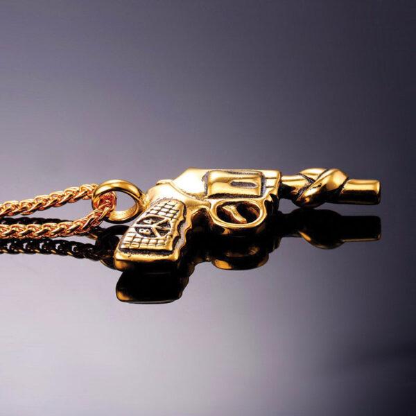 U7 Chain 3mm με Vintage Roscoe Gun - Ανοξείδωτο Ατσάλι / 18KGP Gold – 50CM