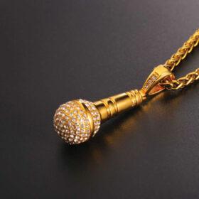U7 Chain 3mm με Pendant Ice Out Microphone - Ανοξείδωτο Ατσάλι / 18KGP Gold – 50CM