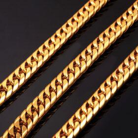 U7 Miami Cuban Chain 13mm με βάρος 185gr. - Ανοξείδωτο Ατσάλι / 18KGP Gold – 66CM