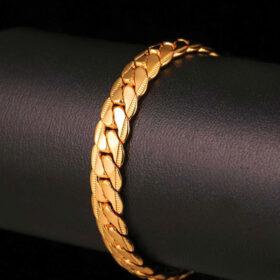 U7 Βracelet Cuban Snake Skin - Ορύχαλκο / 18KGP Gold – 21CM