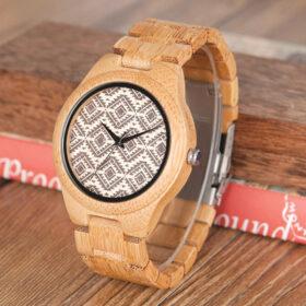 Ρολόι Bamboo με Ξύλινο Bracelet και Καντράν Geometric Unisex