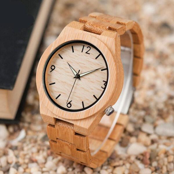 Ρολόι Bamboo με Ξύλινο Bracelet & Bamboo Συσκευασία