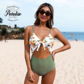 Μαγιό Ολόσωμο Sexy Army Green Floral - Paradise 2020