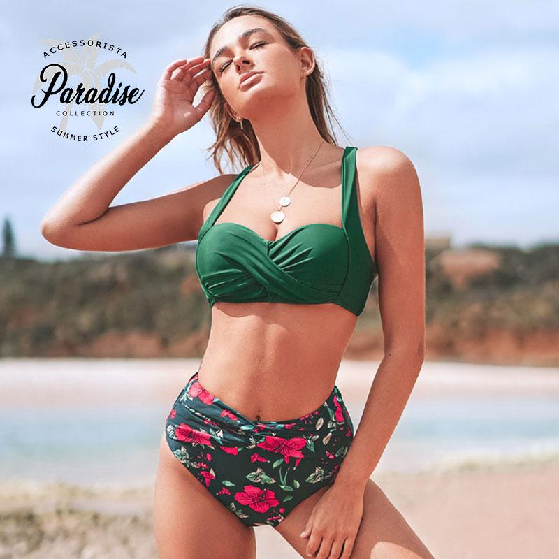Μαγιό Ψηλόμεσο Red Floral Green με Μπανέλα - Paradise 2020