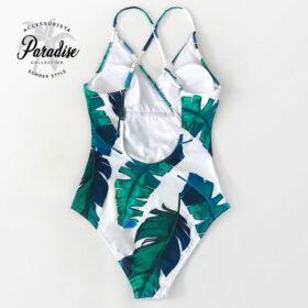 Μαγιό Ολόσωμο White Leaf Εξώπλατο με Ρυθμιζόμενες Τιράντες - Paradise 2020