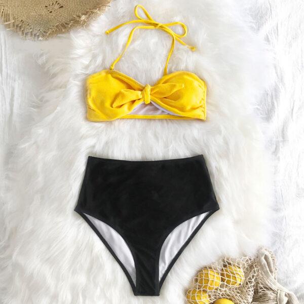 Μαγιό Ψηλόμεσο Yellow/Black Vintage με Φιόγκο - Paradise 2020