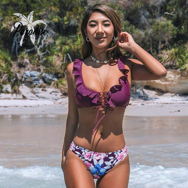 Μαγιό Μπικίνι Floral Purple με Ρυθμιζόμενες Τιράντες - Paradise 2020
