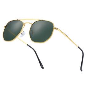 Γυαλιά Ηλίου Hexagon Stainless Gold Σκελετός & Greenkish Φακός Polarized (3550)