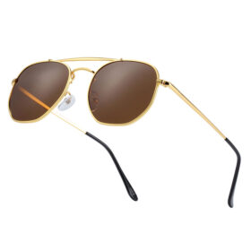 Γυαλιά Ηλίου Hexagon Stainless Gold Σκελετός & Tea Φακός Polarized (3550)