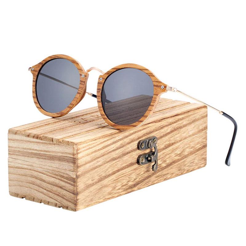 Γυαλιά Ηλίου Bamboo Vintage Round Zebrawood με Black Polarized Φακό (7106)