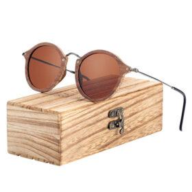 Γυαλιά Ηλίου Bamboo Vintage Round με Tea Polarized Φακό (7106)