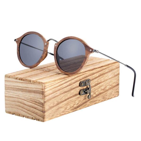 Γυαλιά Ηλίου Bamboo Vintage Round με Black Polarized Φακό (7106)