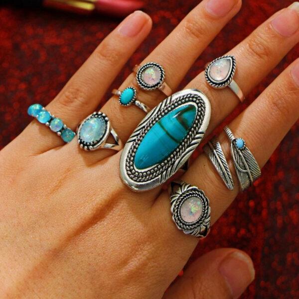 Σετ 8 Δαχτυλίδια Antique Silver Τυρκουάζ Opal Stone