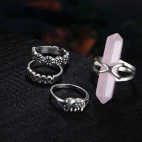Σετ 15 Δαχτυλίδια Silver Bohemian Rose Stone