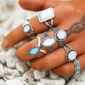 Σετ 7 Δαχτυλίδια Bohemian Blue & White Stones