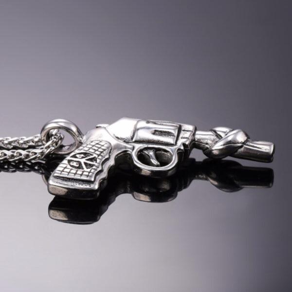 U7 Chain 3mm με Pendant Vintage Roscoe Gun - Ανοξείδωτο Ατσάλι – 50CM