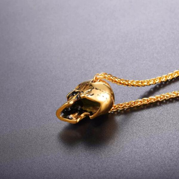 U7 Chain 3mm με Pendant Gothic Skull - Ανοξείδωτο Ατσάλι / 18KGP Gold – 50CM