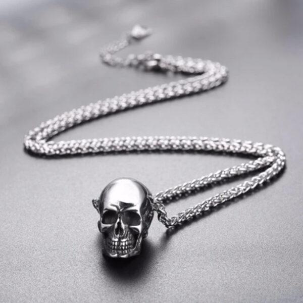 U7 Chain 3mm με Pendant Gothic Skull - Ανοξείδωτο Ατσάλι – 50CM