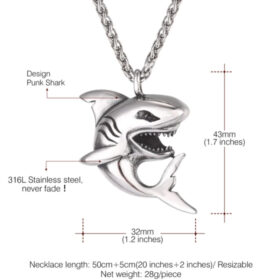 U7 Chain 3mm με Pendant Big Shark - Ανοξείδωτο Ατσάλι / 18KGP Gold – 50CM