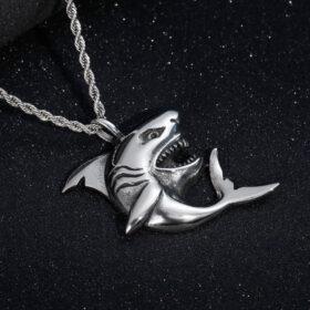 U7 Chain 3mm με Pendant Big Shark - Ανοξείδωτο Ατσάλι – 50CM