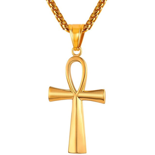 U7 Chain 3mm με Pendant Key of Nile - Ανοξείδωτο Ατσάλι / 18KGP Gold – 50CM