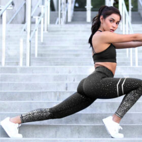 Αθλητικό Κολάν Ψηλόμεσο Metallic Splash για Yoga Black (A10)