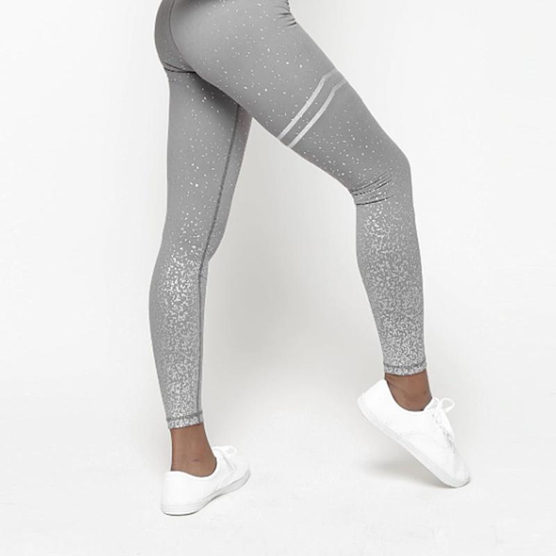 Αθλητικό Κολάν Ψηλόμεσο Metallic Splash για Yoga/Pilates Grey (A10)