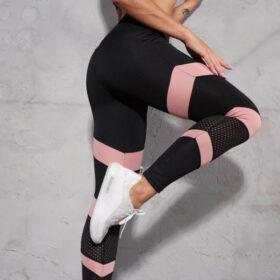 Αθλητικό Κολάν Ψηλόμεσο Fitness Arrow για Yoga/Pilates Black/Rose (A20)