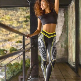 Αθλητικό Κολάν Ψηλόμεσο Fitness Print για Yoga/Pilates (A09)