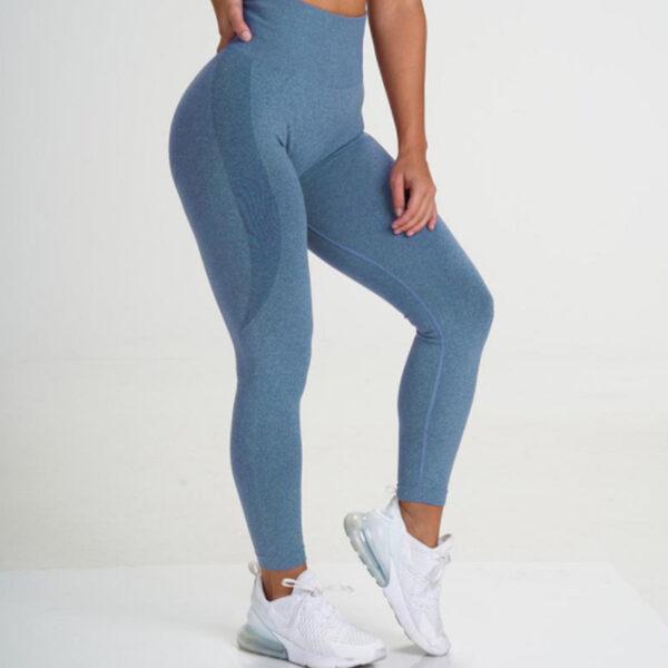 Αθλητικό Κολάν Ψηλόμεσο Workout για Yoga/Pilates Blue (A9165)