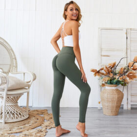 Αθλητικό Κολάν Ψηλόμεσο με Σούρα για Yoga/Pilates Army Green (A0803)