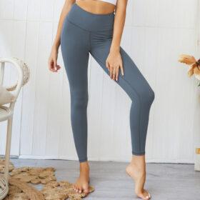 Αθλητικό Κολάν Ψηλόμεσο με Σούρα για Yoga/Pilates Blue (A0803)