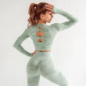 Yoga Set Αθλητικό Κολάν Ψηλόμεσο & Μπουστάκι Μακρυμάνικο Army Green