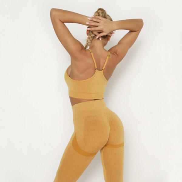 Yoga Set Αθλητικό Κολάν Ψηλόμεσο και Μπουστάκι με Ρυθμιζόμενες Τιράντες Peach Pale (A40)