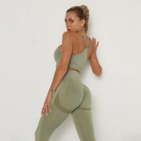 Yoga Set Αθλητικό Κολάν Ψηλόμεσο και Μπουστάκι με Ρυθμιζόμενες Τιράντες Green Pale (A40)