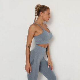 Yoga Set Αθλητικό Κολάν Ψηλόμεσο και Μπουστάκι με Ρυθμιζόμενες Τιράντες Blue Pale (A40)
