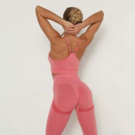 Yoga Set Αθλητικό Κολάν Ψηλόμεσο και Μπουστάκι με Ρυθμιζόμενες Τιράντες Rose Pale (A40)