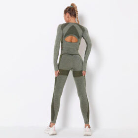 Yoga Set Αθλητικό Κολάν Ψηλόμεσο & Μπουστάκι Μακρυμάνικο Green Pale (A9169)