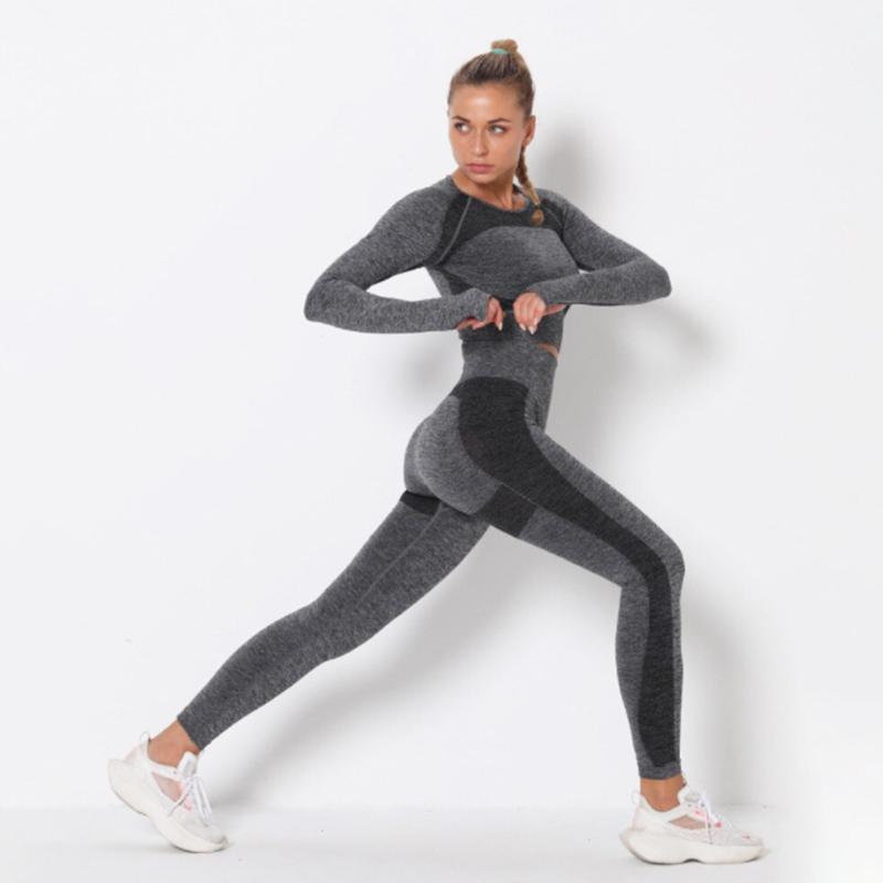 Yoga Set Αθλητικό Κολάν Ψηλόμεσο & Μπουστάκι Μακρυμάνικο Black/Grey (A9169)