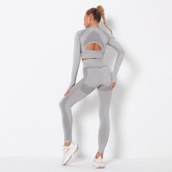 Yoga Set Αθλητικό Κολάν Ψηλόμεσο & Μπουστάκι Μακρυμάνικο Grey (A9169)
